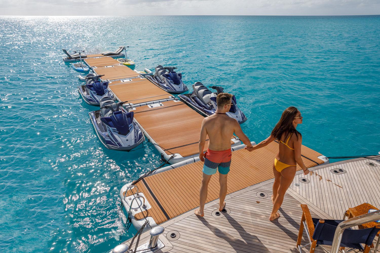 Long, inflatable Jet ski dock pontoon - Nautibuoy Marine