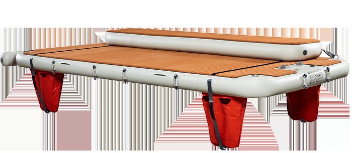 Nautibuoy inflatable platform with long step for transoms - Nautibuoy Marine