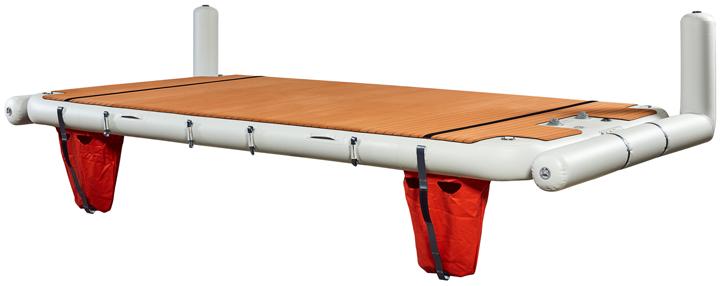 Inflatable platform with transom protecting l-bows - Nautibuoy Marine